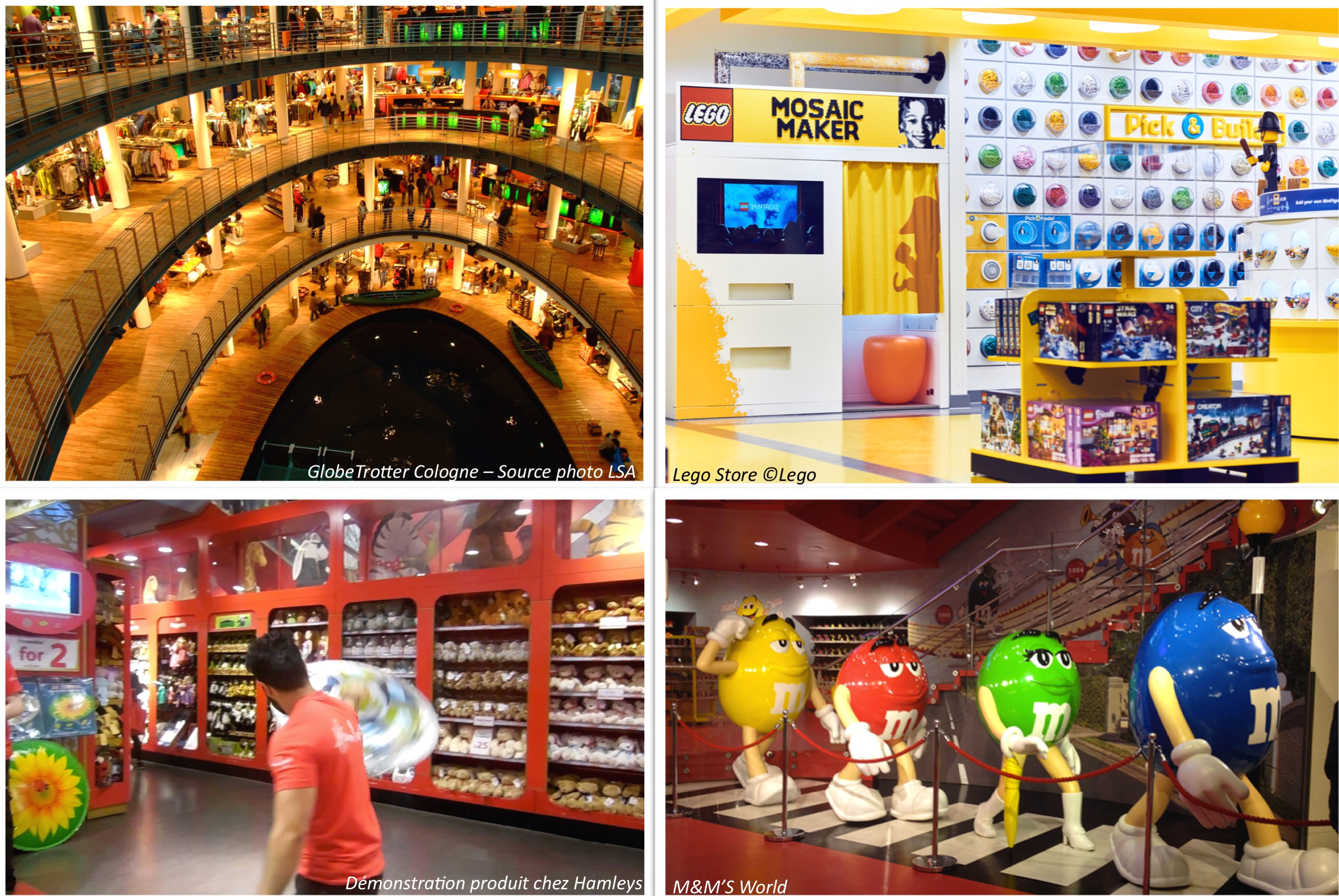 flagships Globetrotter - Hamleys - M&M's - Lego